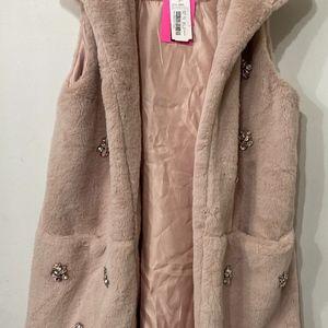 Betsey Johnson Faux Fur Vest Pink Crystal M/L